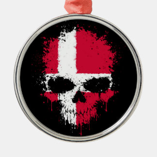Denmark Dripping Splatter Skull Christmas Ornament