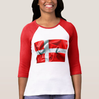 Denmark Flag 3/4 Sleeve T-Shirt