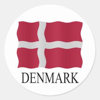 Denmark flag classic round sticker