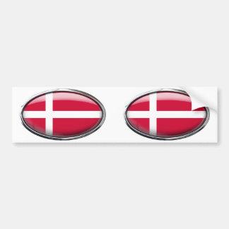 Denmark Flag Glass Oval Bumper Sticker