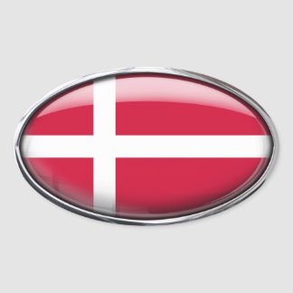 Denmark Flag Glass Oval Oval Sticker