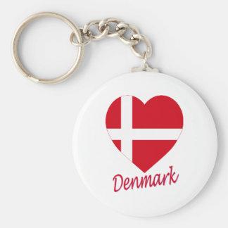 Denmark Flag Heart Key Ring