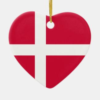 Denmark Flag Heart Ornament