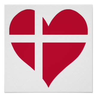 Denmark Flag Heart Poster