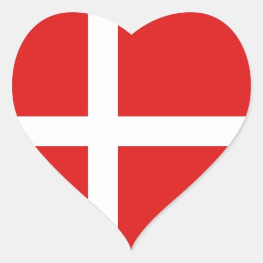 Denmark Flag Heart Sticker