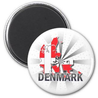Denmark Flag Map 2.0 6 Cm Round Magnet