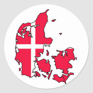 denmark flag map classic round sticker