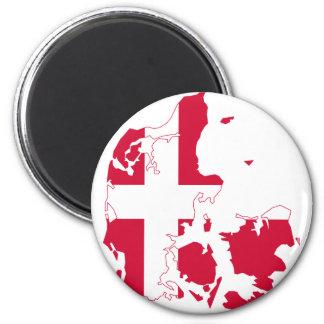 Denmark Flag map DK 6 Cm Round Magnet
