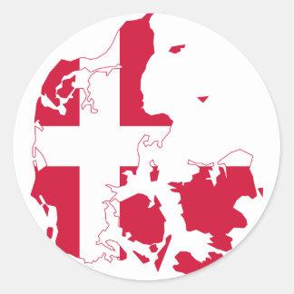 Denmark Flag map DK Classic Round Sticker