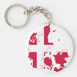Denmark Flag map DK Key Ring
