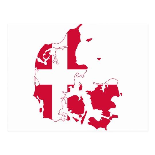 Denmark Flag map DK Postcard