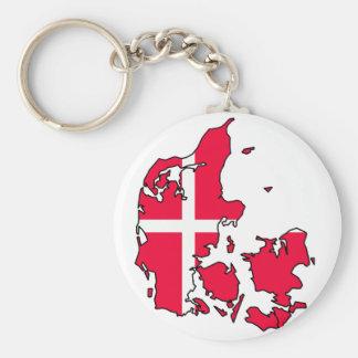 denmark flag map key ring