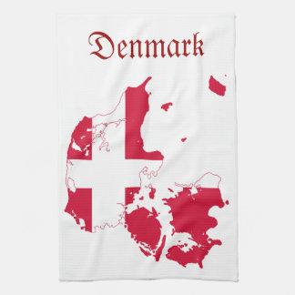 Denmark Flag Map Tea Towel
