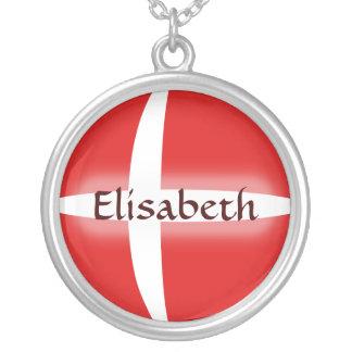 Denmark Flag + Name Necklace