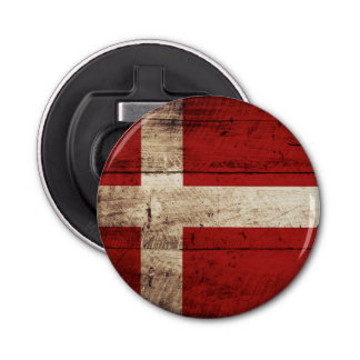 Denmark Flag on Old Wood Grain Bottle Opener