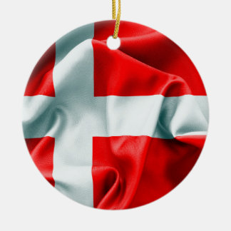 Denmark Flag Round Ceramic Ornament