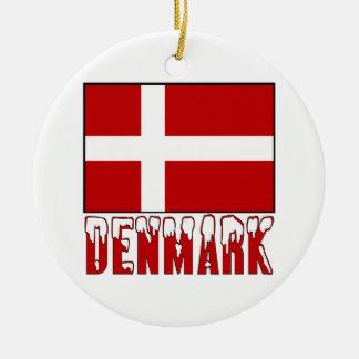 Denmark Flag Snow Christmas Ornament