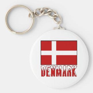 Denmark Flag Snow Key Ring