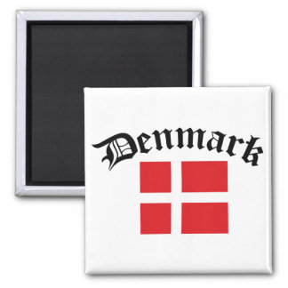 Denmark Flag w/Inscription Square Magnet