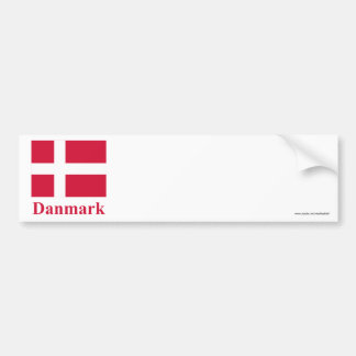 Denmark Flag with Name in Danish Bumper Sticker