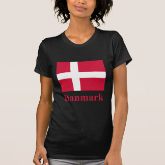 Denmark Flag with Name in Danish T-Shirt