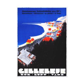 Denmark Gilleleje Restored Vintage Travel Poster Canvas Print