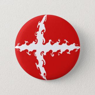 Denmark Gnarly Flag 6 Cm Round Badge