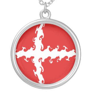 Denmark Gnarly Flag Round Pendant Necklace