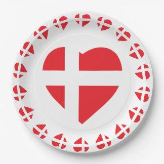 DENMARK HEART SHAPE FLAG DANNEBROG PAPER PLATE