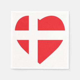 DENMARK HEART SHAPE FLAG DISPOSABLE NAPKIN