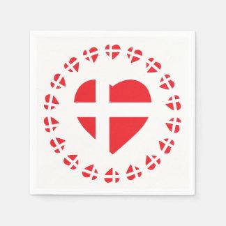 DENMARK HEART SHAPE FLAG PAPER SERVIETTES