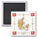 Denmark Map + Flags Magnet