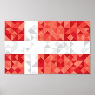 Denmark Poly Flag, danish Colors Poster