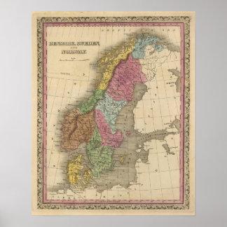 Denmark, Sweden, Norway Poster