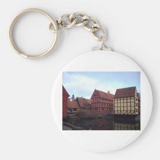 Denmark Travels Basic Round Button Key Ring