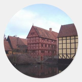 Denmark Travels Round Sticker