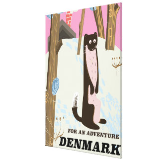 Denmark vintage cartoon landscape travel poster canvas print