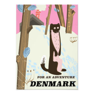Denmark vintage cartoon landscape travel poster photo