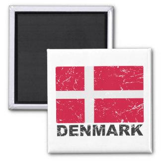 Denmark Vintage Flag Square Magnet
