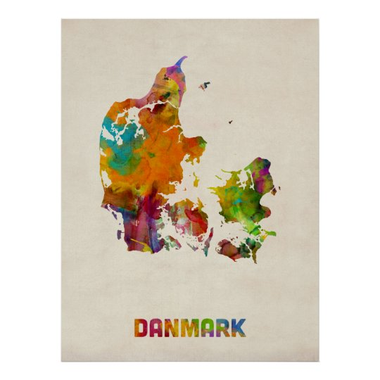 Denmark Watercolor Map Poster