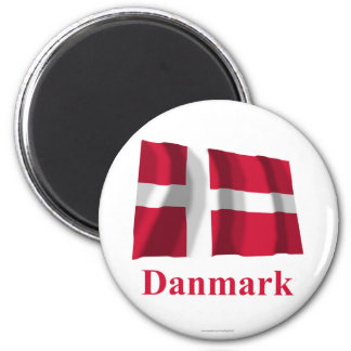 Denmark Waving Flag with Name in Danish 6 Cm Round Magnet