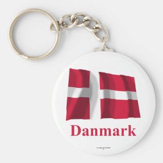 Denmark Waving Flag with Name in Danish Basic Round Button Key Ring