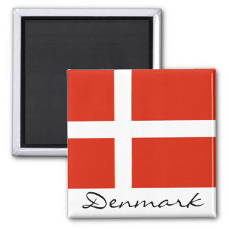 Denmark with Dannebrog Square Magnet
