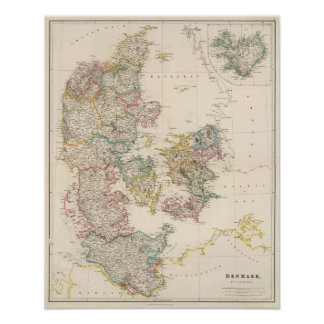 Denmark with inset map of Iceland Poster