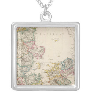 Denmark with inset map of Iceland Silver Plated Necklace