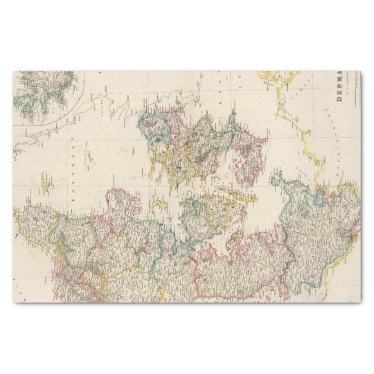 Denmark with inset map of Iceland Tissue Paper