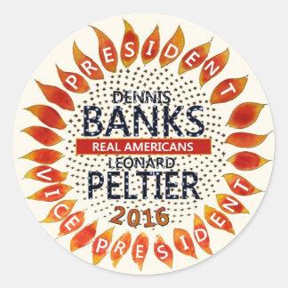 Dennis Banks for President 2016 Classic Round Sticker