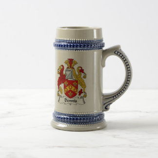Dennis Coat of Arms Stein - Family Crest Coffee Mugs