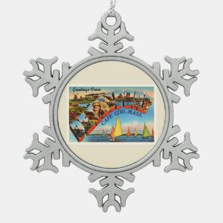Dennisport Cape Cod Massachusetts MA Old Travel Snowflake Pewter Christmas Ornament