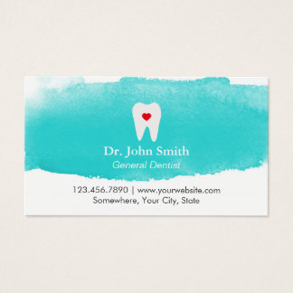 Dental Appointment Tooth Heart Watercolor Dentist Business Card
